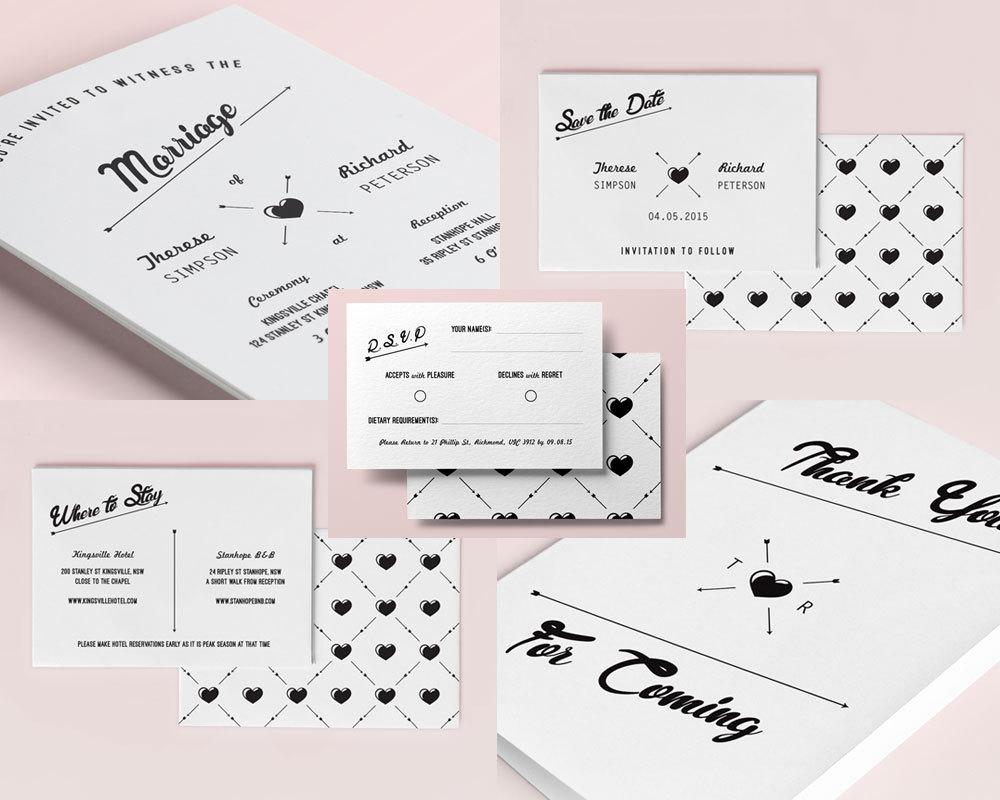 Hipster Wedding Invitation Set