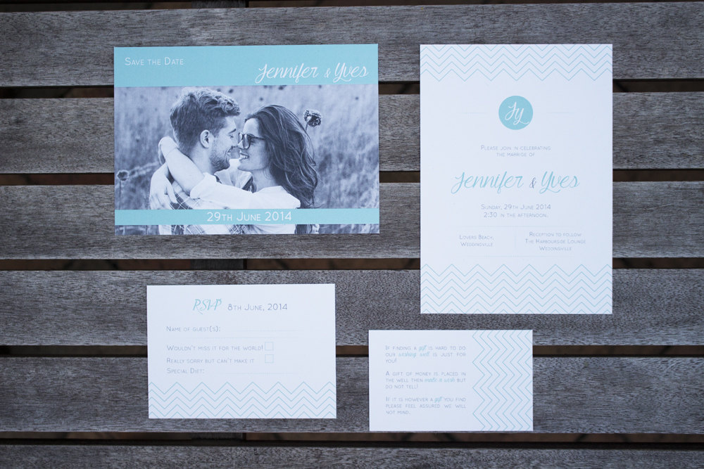 Chevron Wedding Invitation Set by Blossom Tree Designs