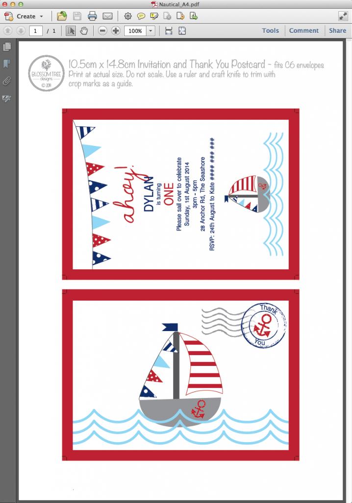 Party Printable Invitation by Blossom Tree Designs