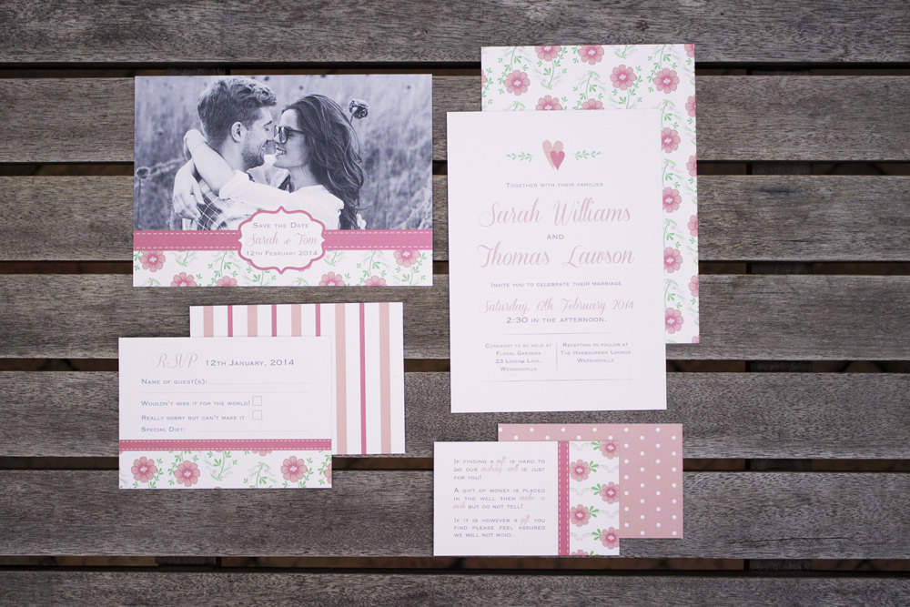 Vintage Floral Invitation Set by Blossom Tree Designs